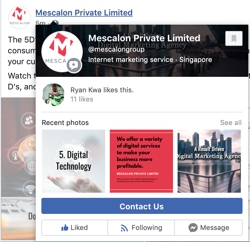 Facebook About Us Section