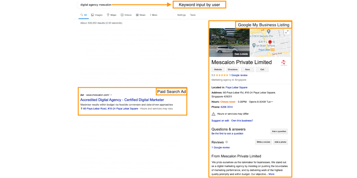 Sample of Google My Business Listing